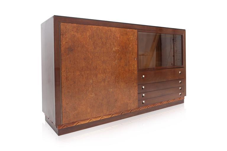 Charles Van Beerleire Art Deco Mahogany Credenza For Sale 1