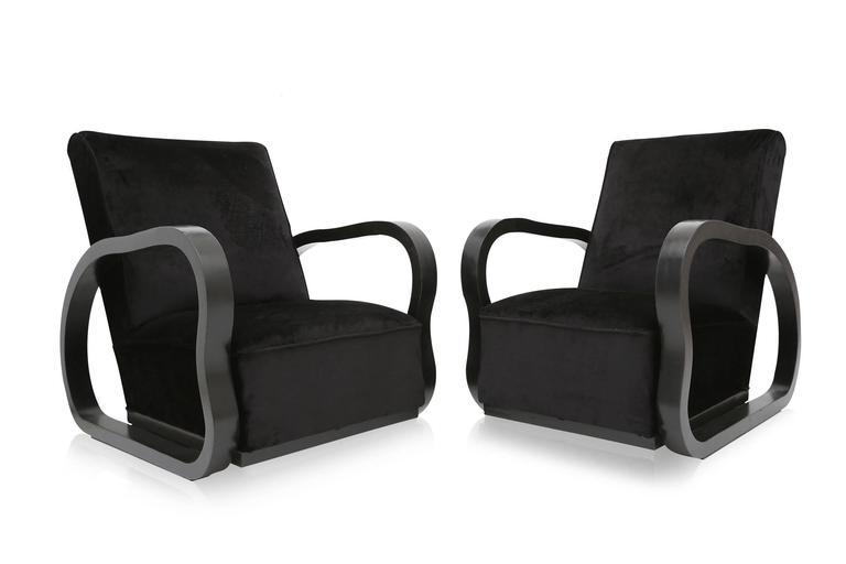 European Black Velvet Lounge Chairs Halabala style For Sale