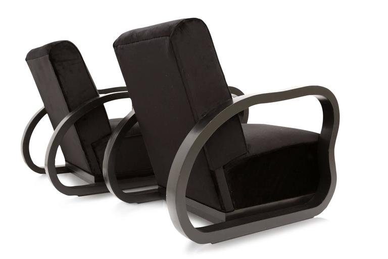 Black Velvet Lounge Chairs Halabala style In Excellent Condition For Sale In Antwerp, BE