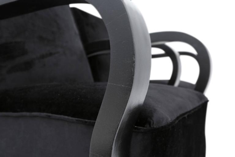 Plywood Black Velvet Lounge Chairs Halabala style For Sale