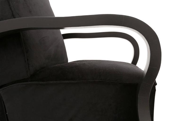 Art Deco Black Velvet Lounge Chairs Halabala style For Sale