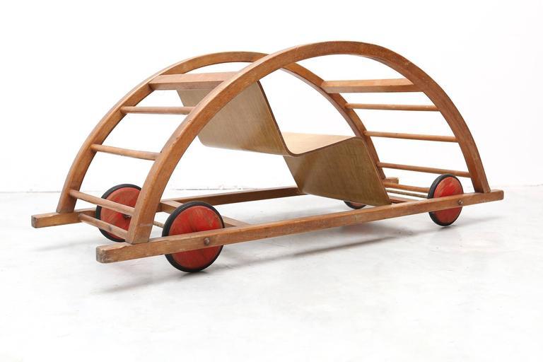 Mid-Century Modern Hans Brockhage Schaukelwagen Swing and Race Car Toy For Sale