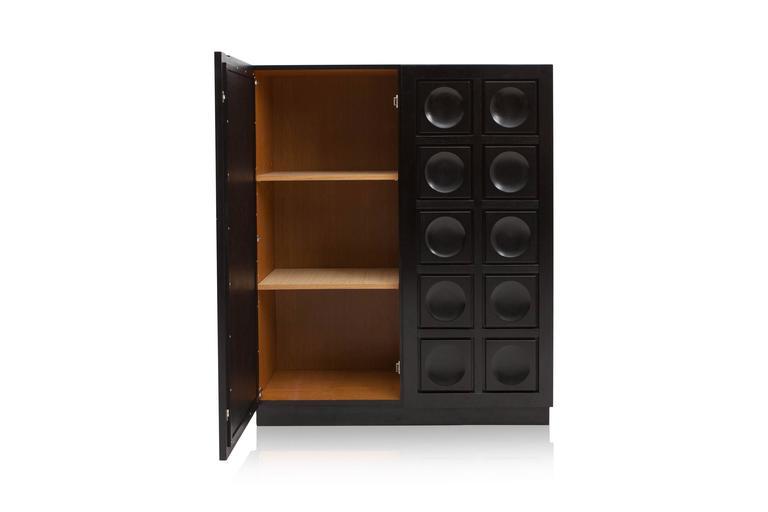 Mid-Century Modern Brutalist Bar Cabinet For Sale