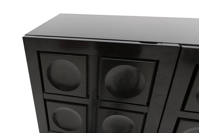 Mirror Brutalist Bar Cabinet For Sale