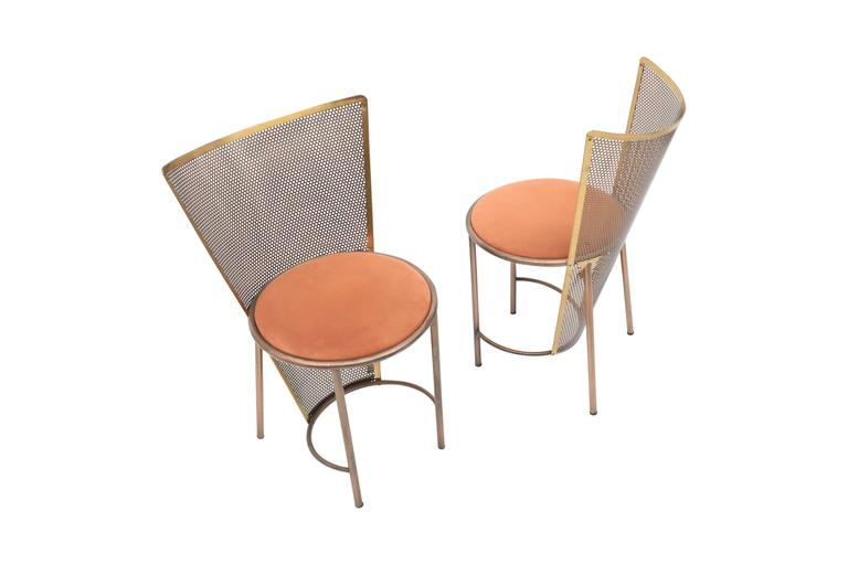 Belgian Post-modern Frans Van Praet Limited Edition Expo '92 Brass Chairs For Sale