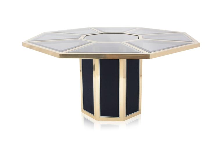 roche bobois octagonal brass dining table for sale at 1stdibs. Black Bedroom Furniture Sets. Home Design Ideas