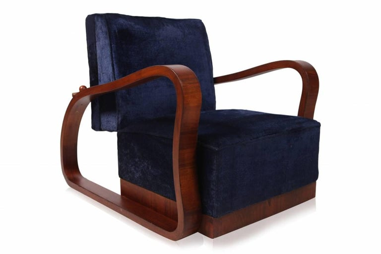 Mid-Century Modern Pair of Adjustable Art Deco Lounge Chairs in Blue Velvet For Sale