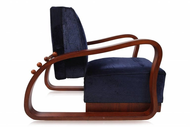 Czech Pair of Adjustable Art Deco Lounge Chairs in Blue Velvet For Sale