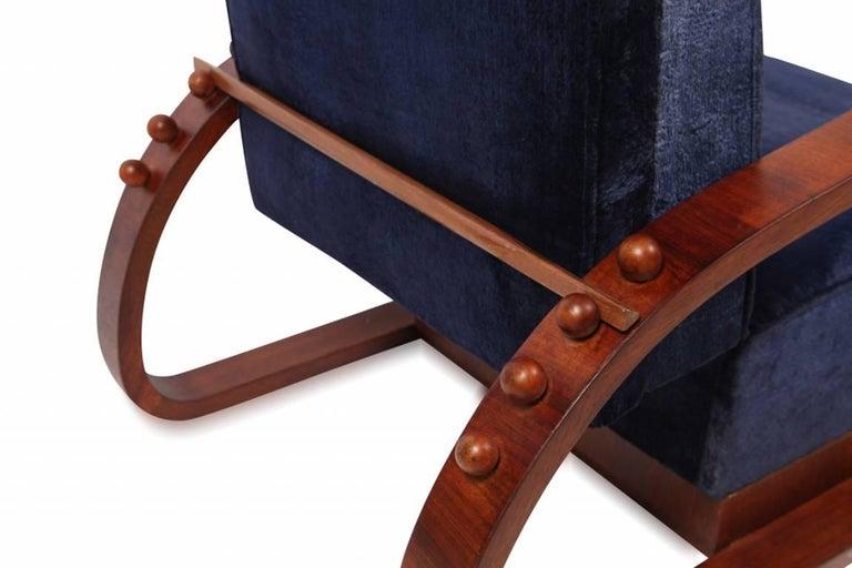 Veneer Pair of Adjustable Art Deco Lounge Chairs in Blue Velvet For Sale