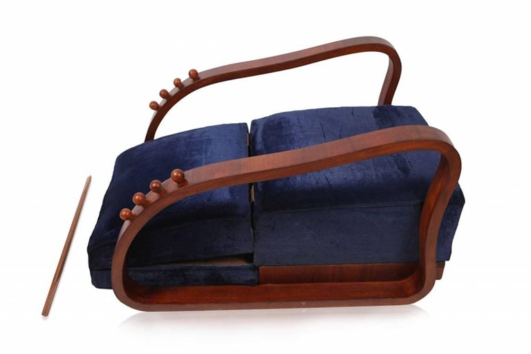 Pair of Adjustable Art Deco Lounge Chairs in Blue Velvet In Excellent Condition For Sale In Antwerp, BE