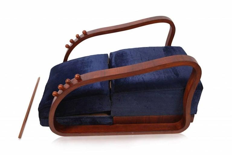 Pair of Adjustable Art Deco Lounge Chairs in Blue Velvet 6
