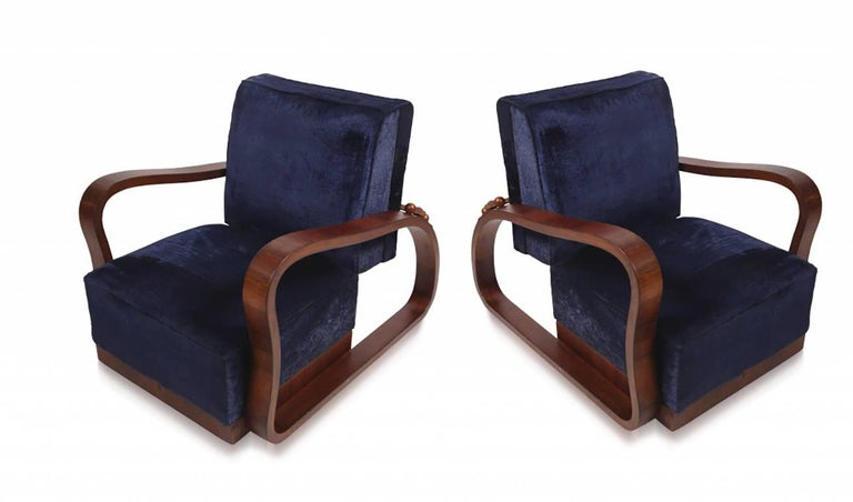 Pair of adjustable art deco lounge chairs in blue velvet for sale at 1stdibs - Deco lounge blue duck ...