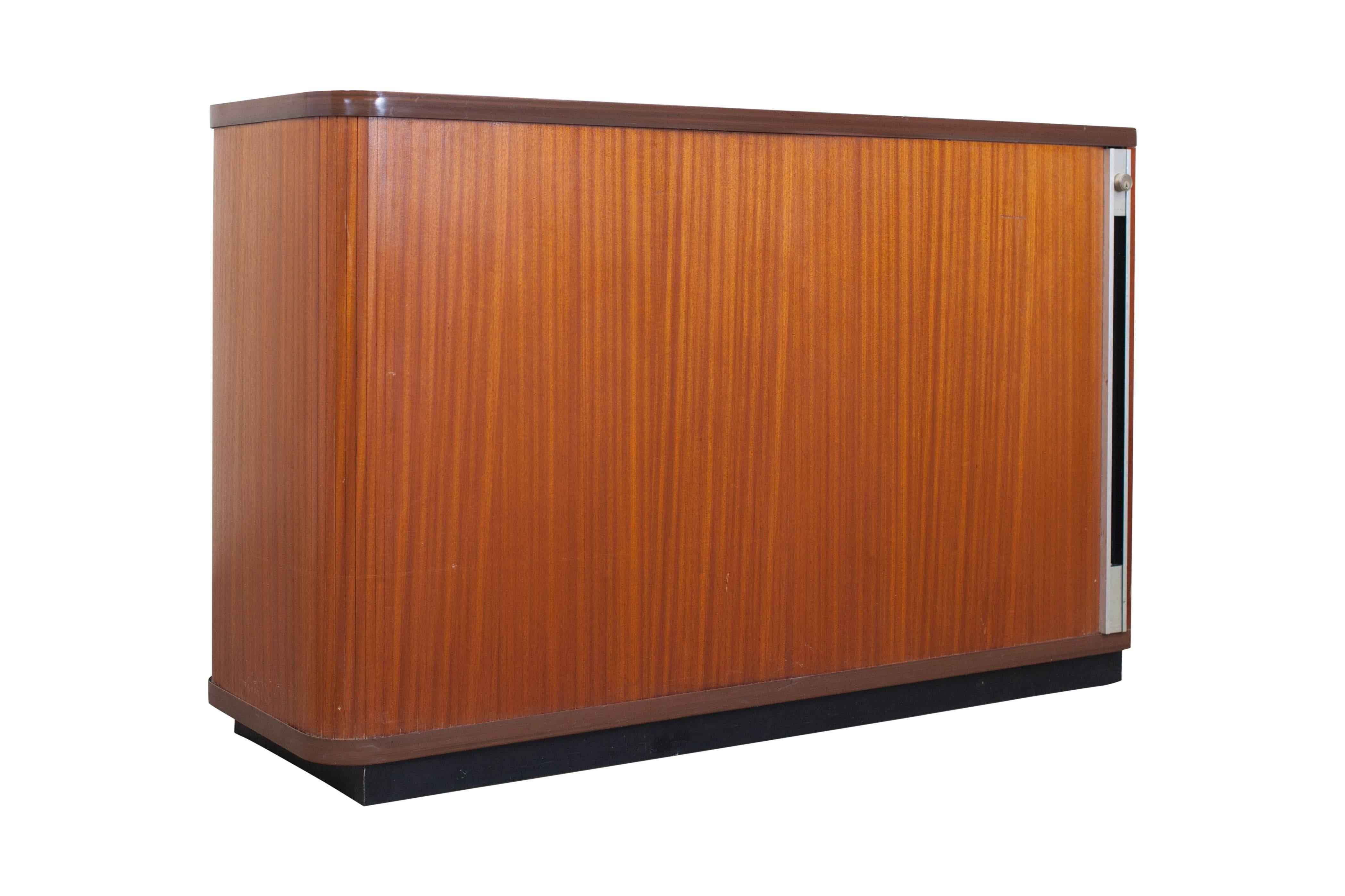 MidCentury Modern Set Of Two Teak Office Cabinets With Tambour Doors For Sale