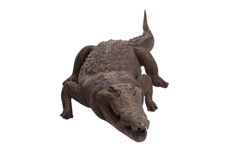 Hollywood Regency Bronzed Life-Size Crocodile sculpture  For Sale
