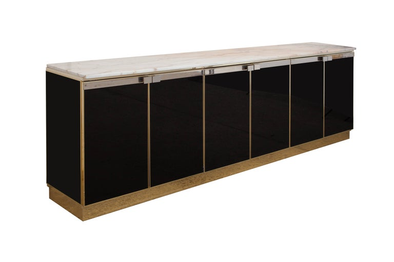 Credenza La Maison : Brass maison jansen black lacquer marble top credenza at 1stdibs