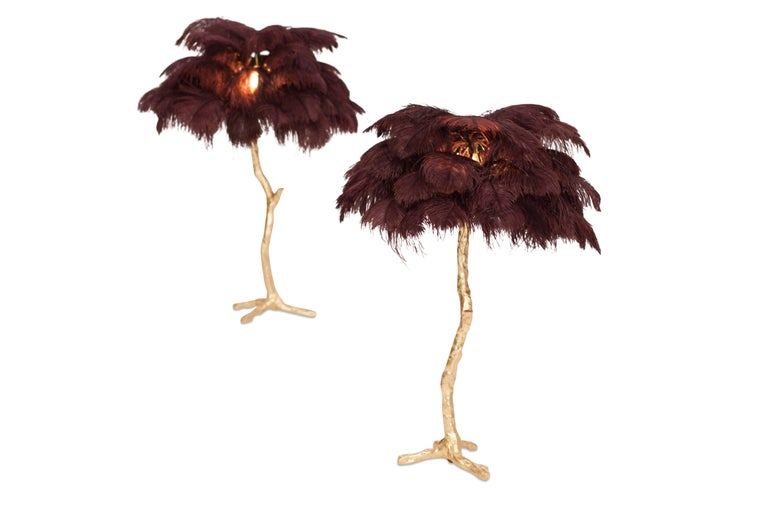 Golden Feathered Tree Lamp Aubergine At 1stdibs