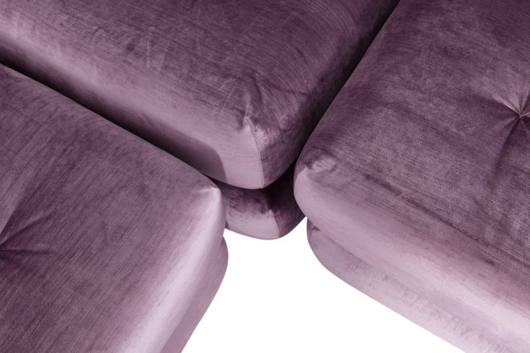 French Mah Jong First Edition Modular Sofa in Purple Velvet by Roche Bobois For Sale