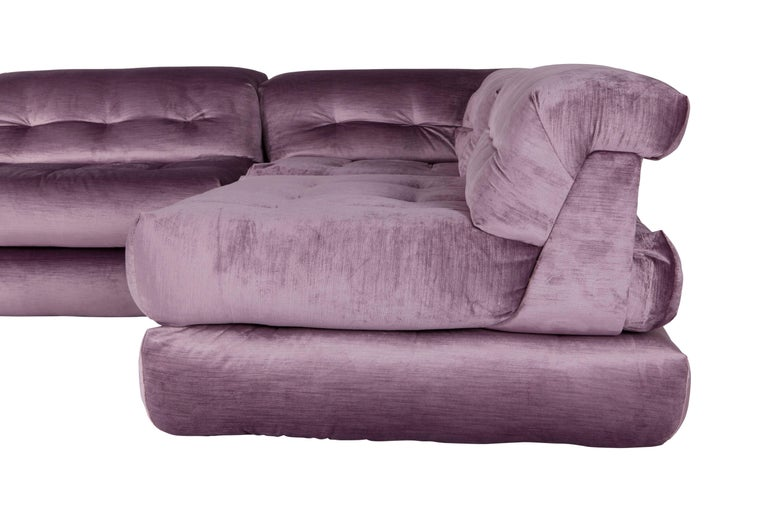 Late 20th Century Mah Jong First Edition Modular Sofa in Purple Velvet by Roche Bobois For Sale