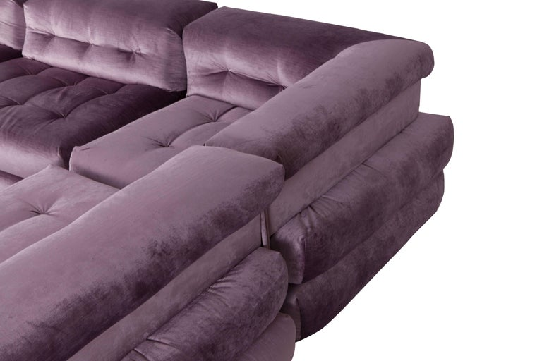 Mah Jong sectional Sofa in Purple Velvet by Roche Bobois For Sale 1