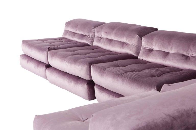 Mah Jong sectional Sofa in Purple Velvet by Roche Bobois For Sale 3