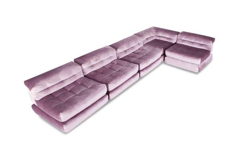 Mah Jong sectional Sofa in Purple Velvet by Roche Bobois For Sale 4