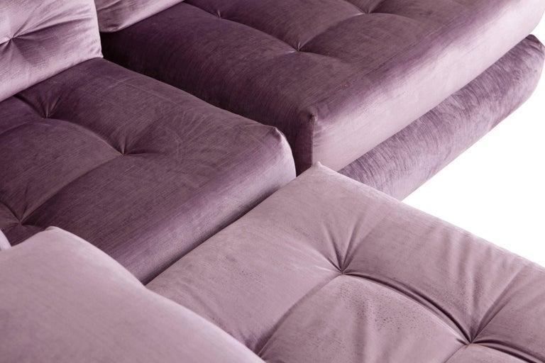 Mah Jong sectional Sofa in Purple Velvet by Roche Bobois For Sale 5