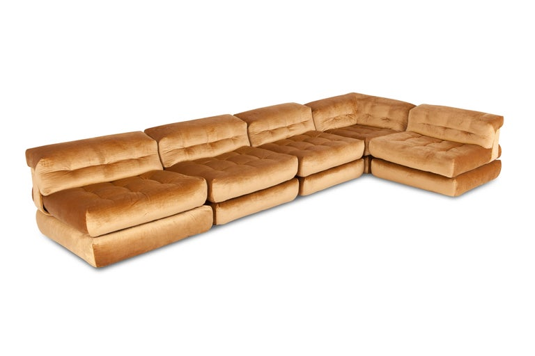 French Mah Jong First Edition Modular Sofa in Gold Velvet by Roche Bobois For Sale
