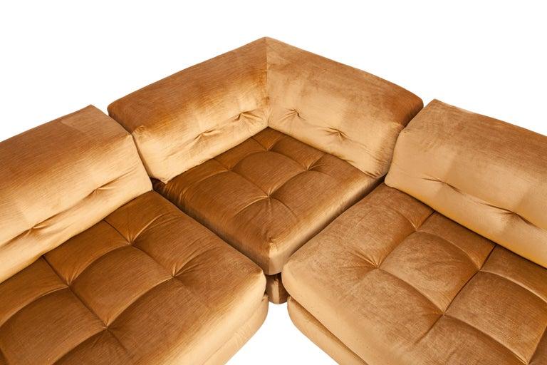 Mid-Century Modern Mah Jong First Edition Modular Sofa in Gold Velvet by Roche Bobois For Sale