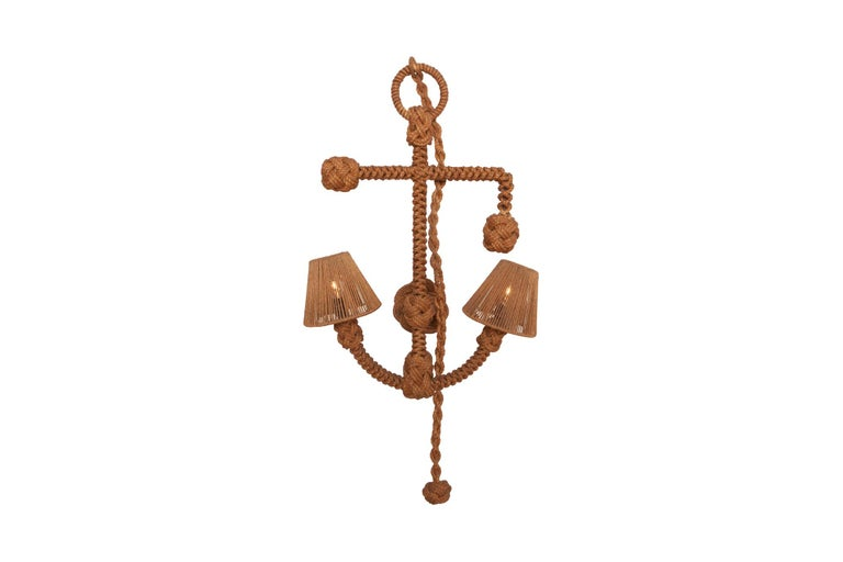 Mid-Century Modern Audoux Minet 'Anchor' Rope Sconce For Sale