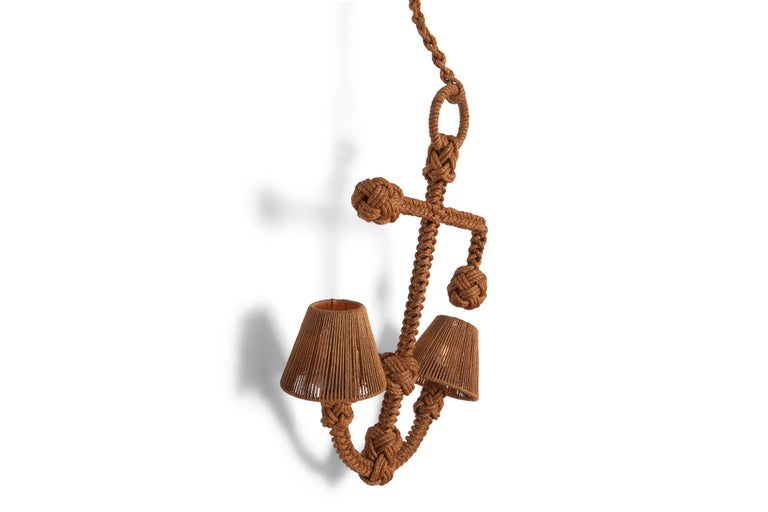 Mid-20th Century Audoux Minet 'Anchor' Rope Sconce For Sale