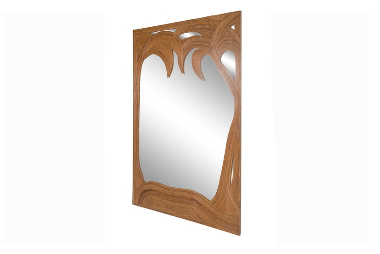 Italian Vivai del Sud pair of Bamboo Palmtree Mirrors, Italy - 1970's For Sale