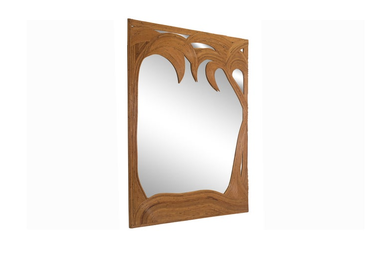 Hollywood Regency Vivai del Sud pair of Bamboo Palmtree Mirrors, Italy - 1970's For Sale