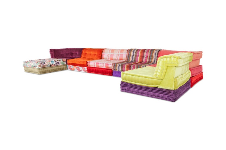 Roche Bobois modular sofa composition.  This unique sofa consists out of 20 different elements, their modular build makes it possible to arrange the sofa to every personal liking. There are endless combinations possible.  The sofa is upholstered