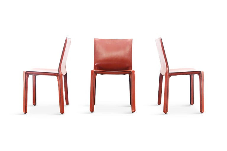 Late 20th Century Mario Bellini Cab Chairs in Oxblood Red Leather for Cassina, 1977 For Sale