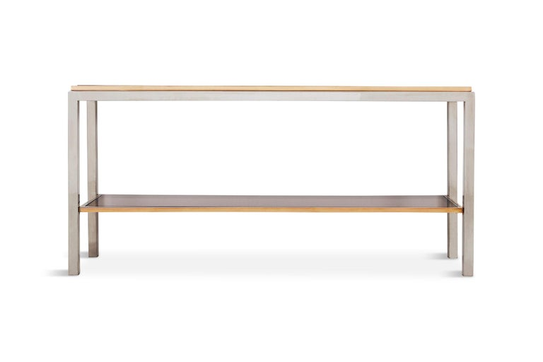 Mid-Century Modern Willy Rizzo Two-Tier Console Table in Chrome and Brass Linea Flaminia For Sale
