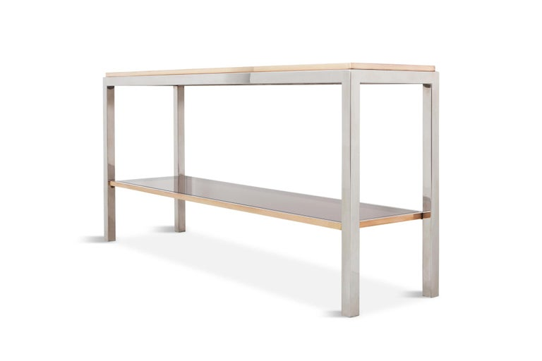 European Willy Rizzo Two-Tier Console Table in Chrome and Brass Linea Flaminia For Sale