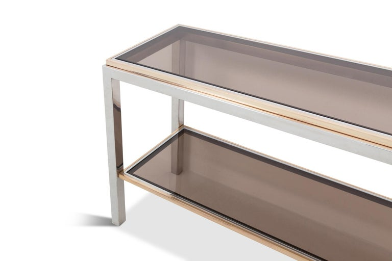 Willy Rizzo Two-Tier Console Table in Chrome and Brass Linea Flaminia In Excellent Condition For Sale In Antwerp, BE