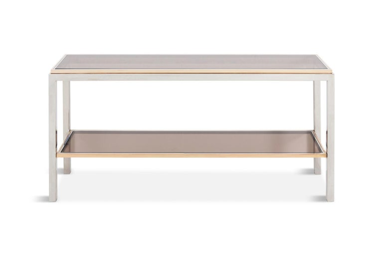 Willy Rizzo Two-Tier Console Table in Chrome and Brass Linea Flaminia For Sale 3