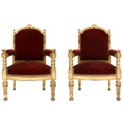 Giltwood and Velvet Classical Armchairs
