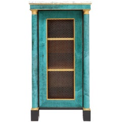 Hollywood Regency Turquoise Leather Cabinet