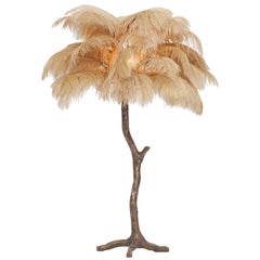 Golden Feathered Bronze Tree Lamp