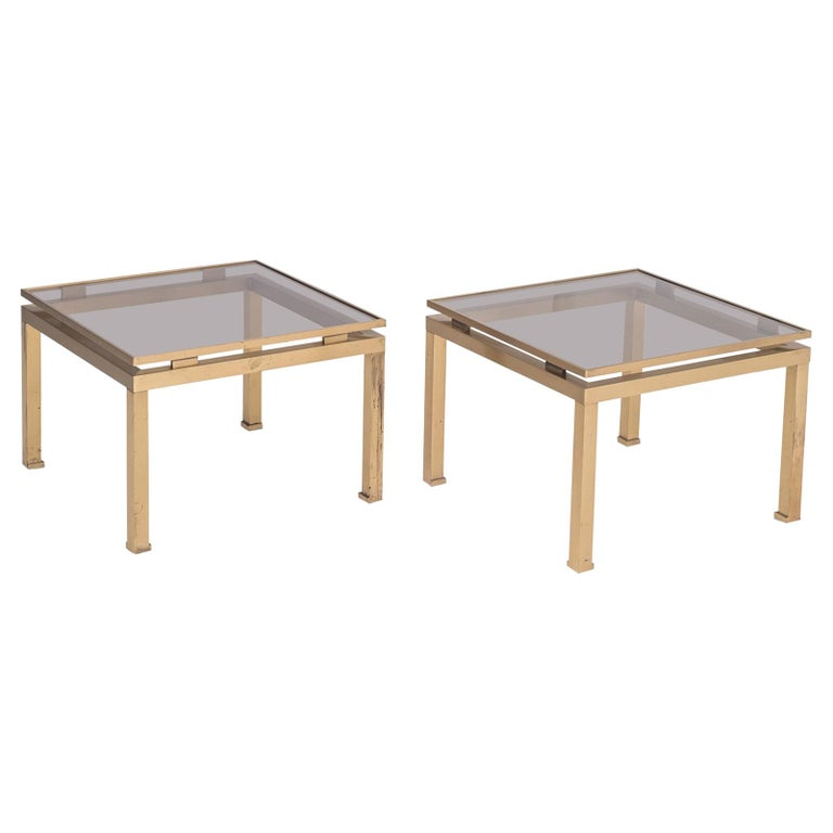 Guy Lefevre Side Tables in Brass and Smoked Glass for Maison Jansen