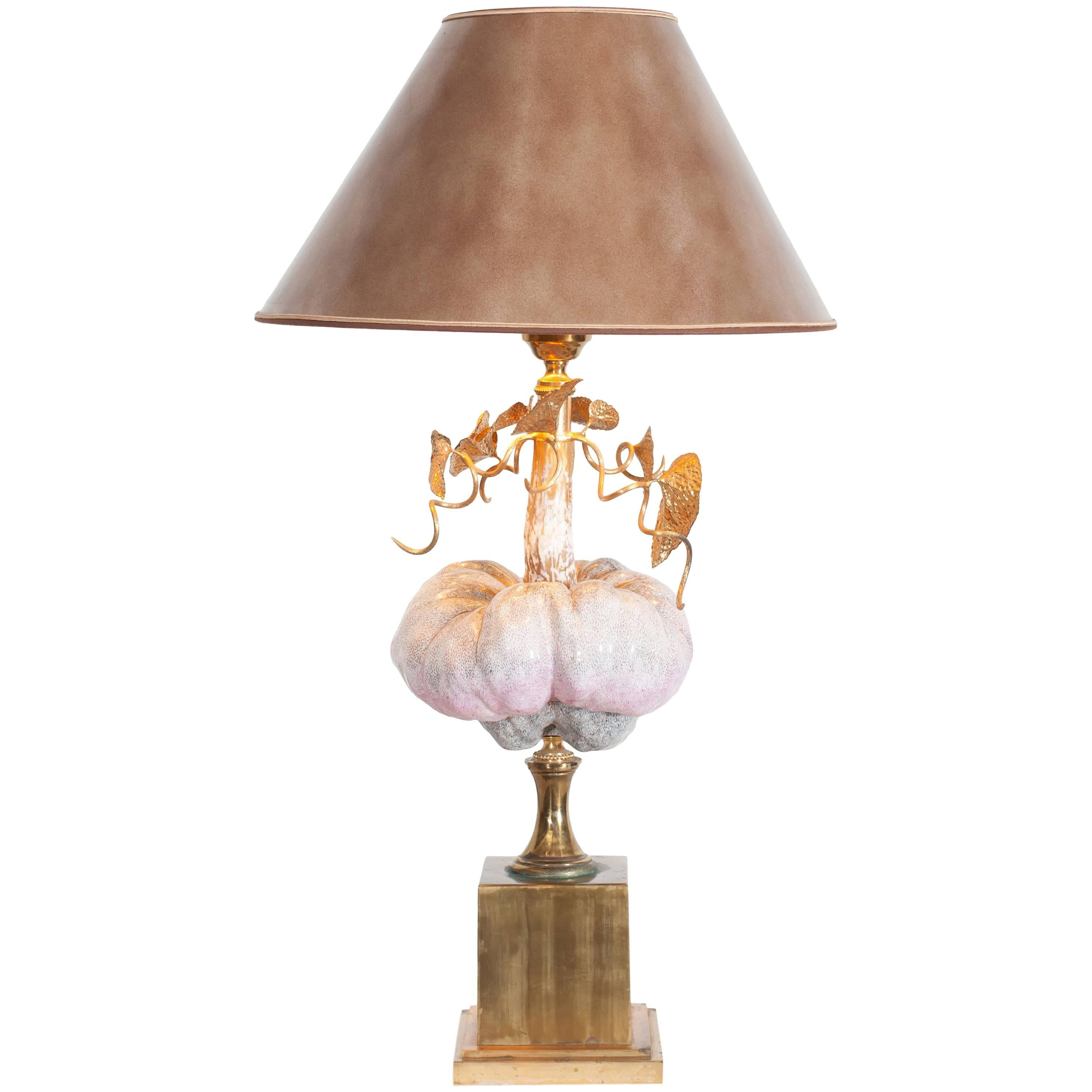 Hollywood Regency Table Lamp in Porcelain and Brass