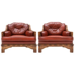 Bamboo and Red Leather Italian Easy Chairs