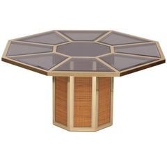 Rattan and Brass Dining Table by Romeo Rega