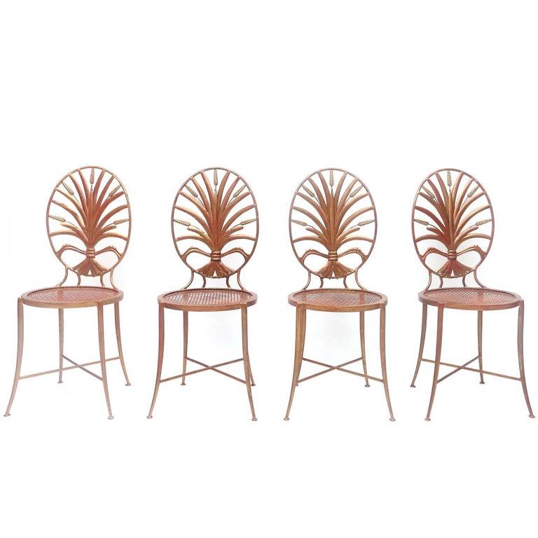 Gilt Iron Wheat Sheaf Coco Chanel Chairs