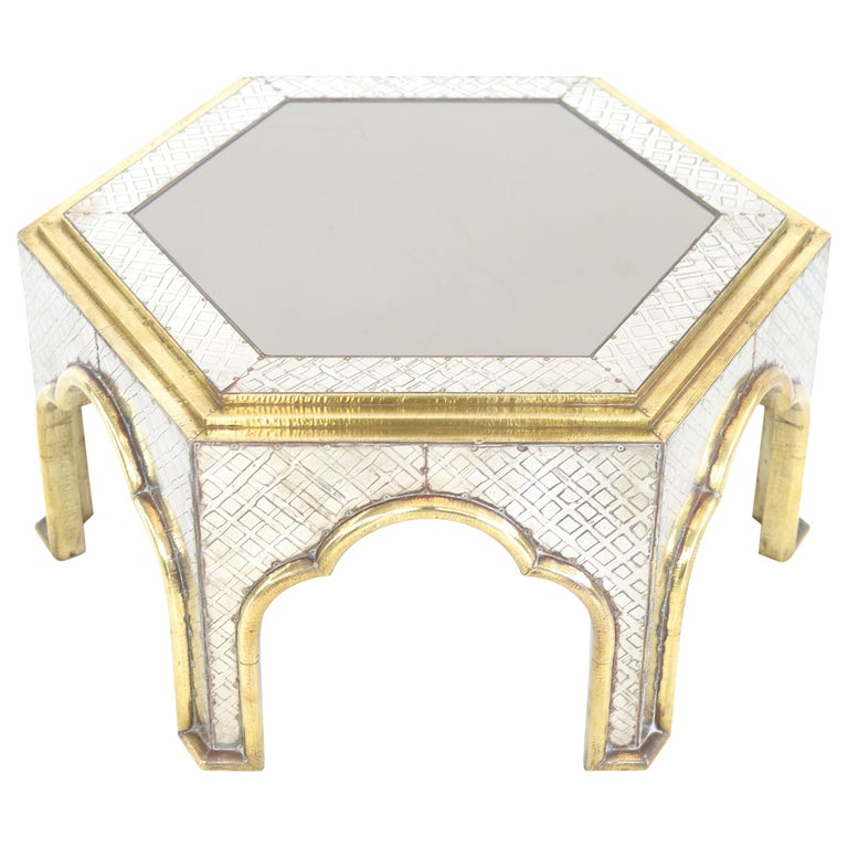 hollywood regency  Brass and Chrome Coffee Table by Dubarry For Sale