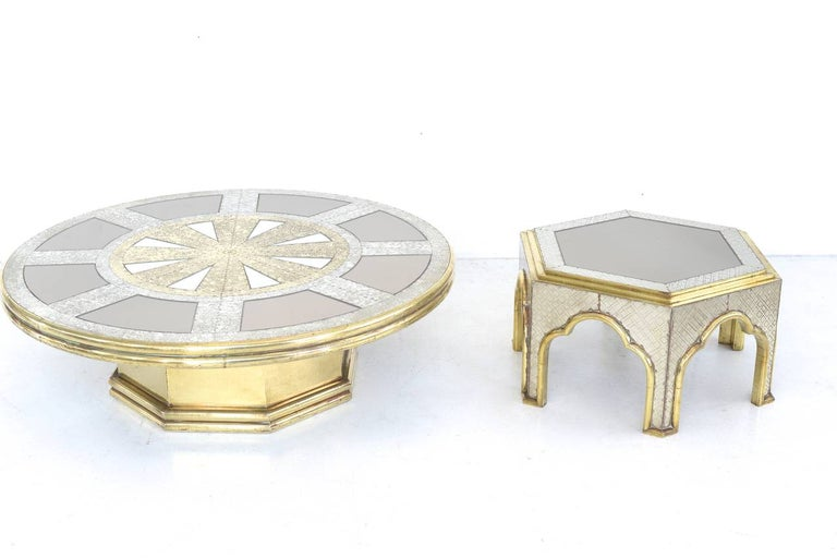 Hollywood Regency hollywood regency  Brass and Chrome Coffee Table by Dubarry For Sale