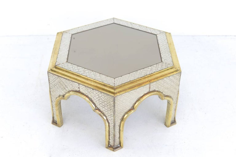 hollywood regency  Brass and Chrome Coffee Table by Dubarry In Good Condition For Sale In Antwerp, BE