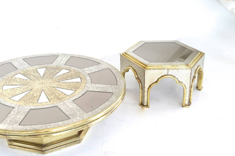 Metal hollywood regency  Brass and Chrome Coffee Table by Dubarry For Sale